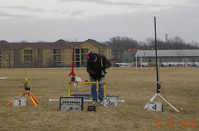 Jonathon Sivier setting up his rocket. photo by Christopher Brian Deem