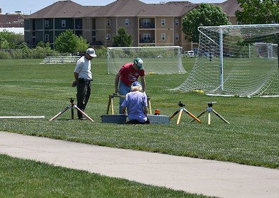 Will Carney, Greg Smith, and Jonathon Sivier set up the launch equipment.