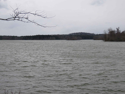 Lake Ontelaunee from the side of Rte 73 on a blustery day - April 17, 2018