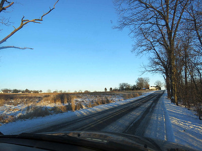 snowy fields and road, December 31, 2017