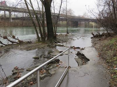 high water level, Schuylkill River, Reading, December 16, 2018
