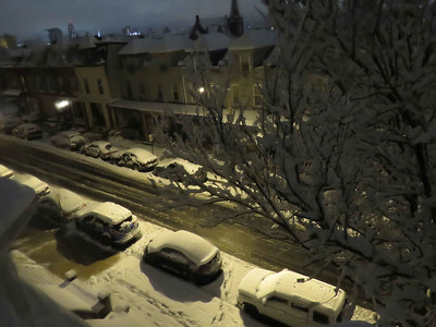 My street after almost five hours of snow, February 17, 2018