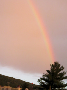 a rainbow just before sunset, June 29, 2019