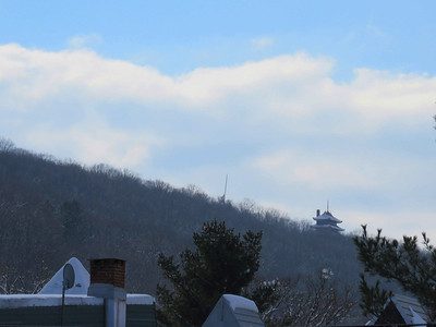 looking to the south from my office window - the Reading Pagoda on top of Mt Penn, February 18, 2018