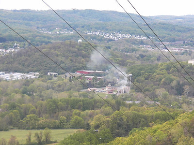 view from Neversink Mountain, looking down on the fire department training facility, April 28, 2012
