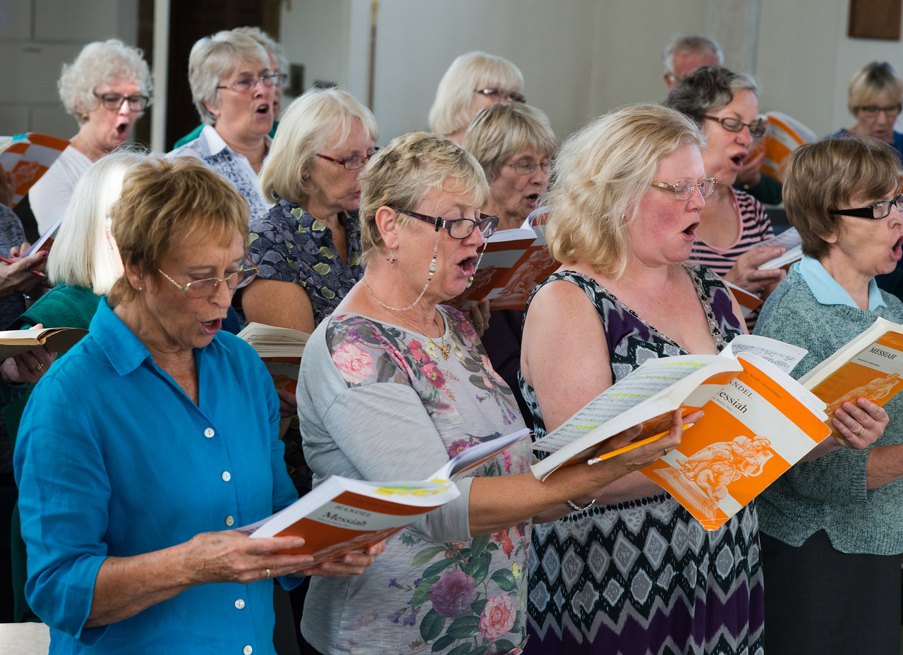 Members of Andover Choral Society singing in harmony at their workshop at St Micheal and All Angels Church in Andover. 24th September, 2016. - Picture Andy Brooks