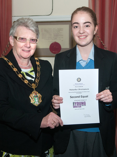 Test Valley Mayor Cllr Iris Anderson presents the Second Equal award certificate in the Senior category of Rotary Andover Young Writer Competition to Natasha Christiansen of Rookwood School. 16th March, 2016 - Picture Andy Brooks