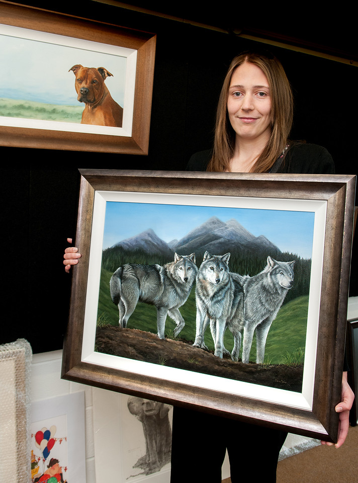 Andover artist Zara Toms with ''Wolf Peak'' just one of her works on show at the Ace Framing and Picture Gallery at the Commercial Centre in Picket Piece. 9th April, 2016 - Picture Andy Brooks