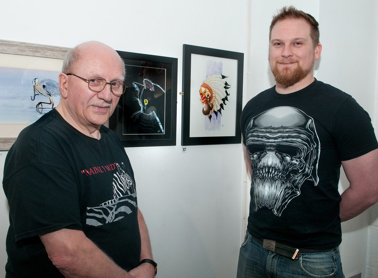 Artist's John Randall (left) and his nephew Paul Whitefield at the lauch of their art exhibition at Andover Museum in memory of of John's sister Anne Taplin. 12th March, 2016 - Picture Andy Brooks