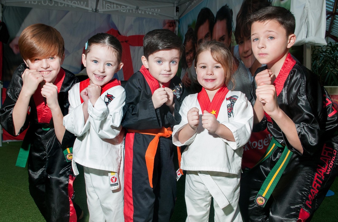 5 year old Faith Sharpe (2nd left) with her 4 year old sister Lacey and the Carnegie brothers Finlay (11), Josh (6) and Taylor (9) at  the Martial Art World at their demonstration in the Chantry Centre. 6th Feb, 2016 - Picture Andy Brooks