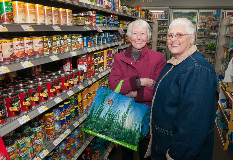 Saxon Fields Store opening - Happy to have their old shop back, local shoppers Norma Dixon (left) and Jacqueline Finch. Pic Andy Brooks - 3rd December, 2016.