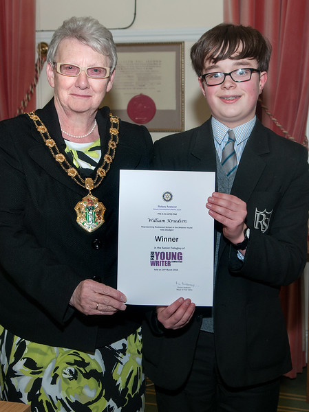 Test Valley Mayor Cllr Iris Anderson presents the Winner's award certificate in the Senior category of Rotary Andover Young Writer Competition to Willian Knudsen of Rookwood School. 16th March, 2016 - Picture Andy Brooks