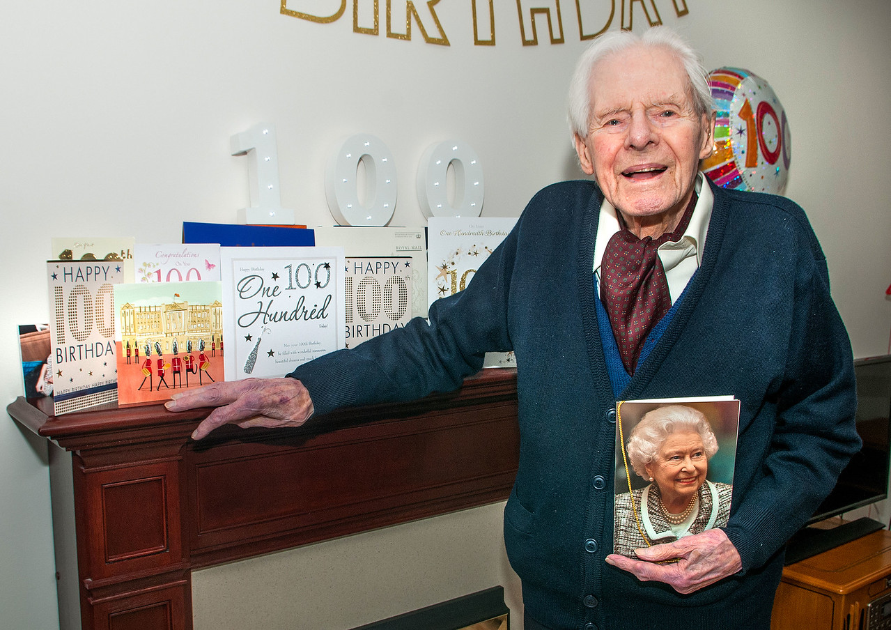 All Smiles at 100 - Peter Patterson of Westfield Court, Andover, celebrated his centenary with his family and a letter from the Queen. 21 January, 2017 - Pic Andy Brooks
