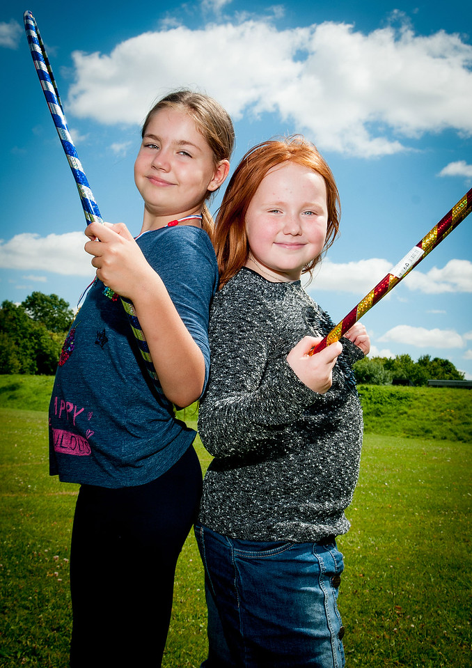 MS Society Sports Day - 8 year olds Ellie May Gillan and Grace Gillan work on their hoopla technique. 6th Aug, 2016 - Pic Andy Brooks
