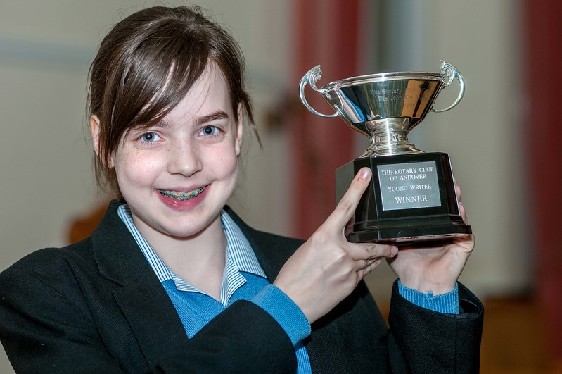 Charlotte Rutherford of Rookwood School with the John Ray Memorial Trophy for The Rotary Club of Andover, Young Writer of the Year winner. 16th March, 2016 - Picture Andy Brooks