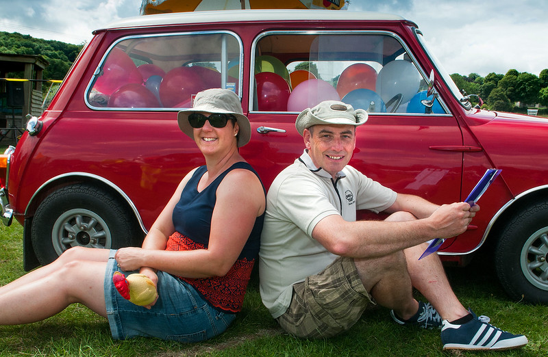 Hurstborne Tarrant Show - How Many Balloons? Kate Walvoff and Richard Clutterbuck have you guessing how many balloons are in the red mini. 16th July, 2016 - Picture Andy Brooks