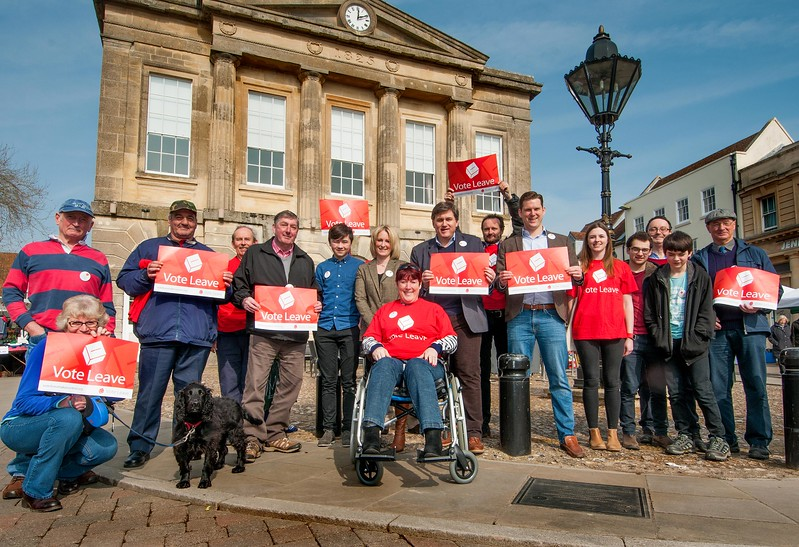 Supporters of the local European Exit Campaign outside Andover's Guildhall. 12th March, 2016 - Picture Andy Brooks