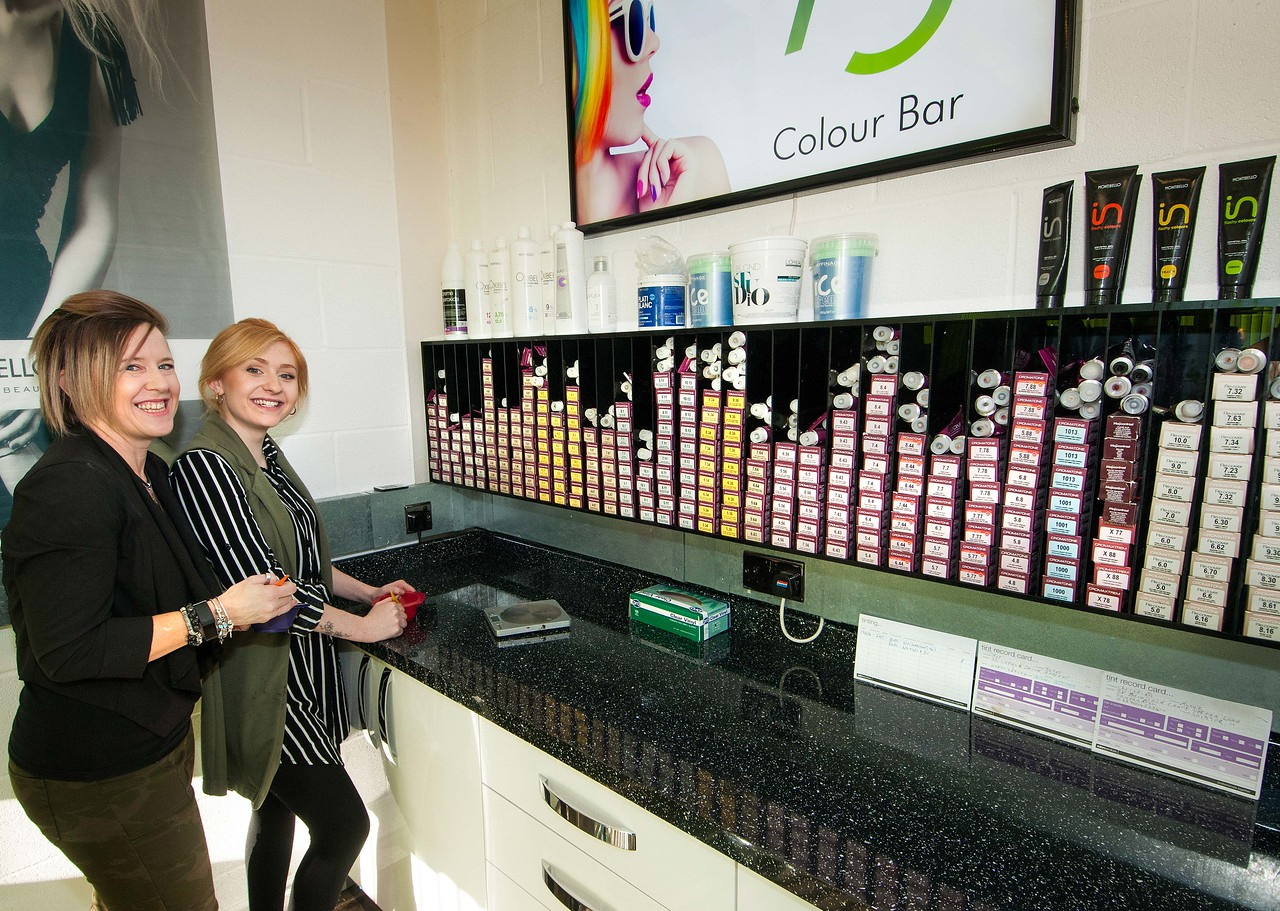 Salon 73 owner Vanessa Cleary with colleague Lucy-May Goddard at the salon's new colour bar. 21-01-2017 - Picture Andy Brooks