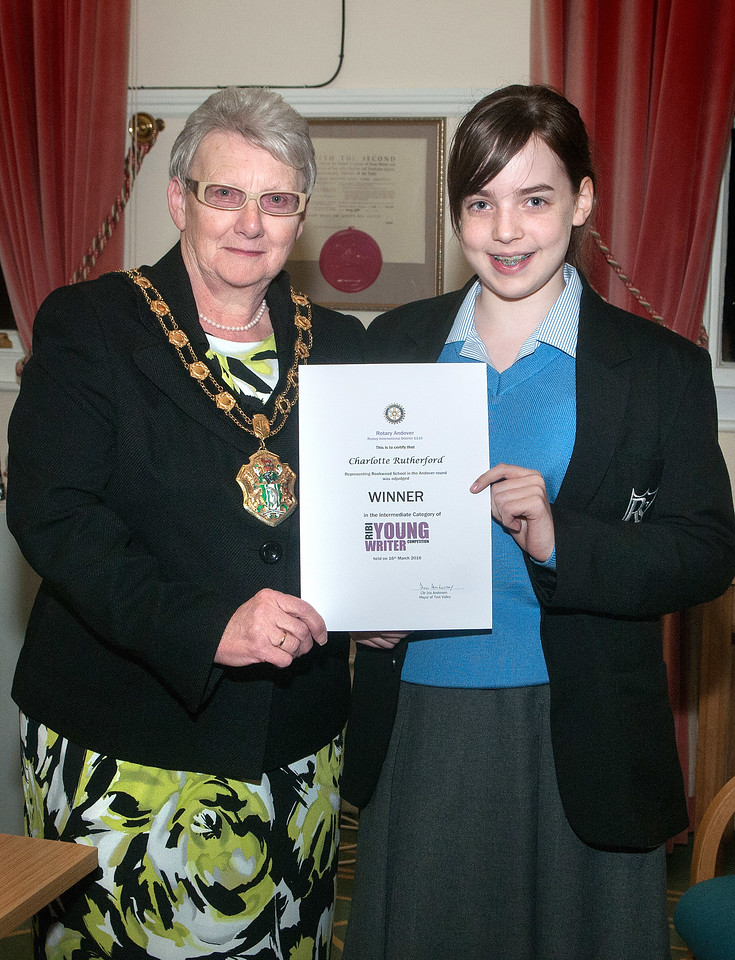 Test Valley Mayor Cllr Iris Anderson presents the Winner's award certificate in the intermediate category of Rotary Andover Young Writer Competition to Charlotte Rutherford of Rookwood School. 16th March, 2016 - Picture Andy Brooks