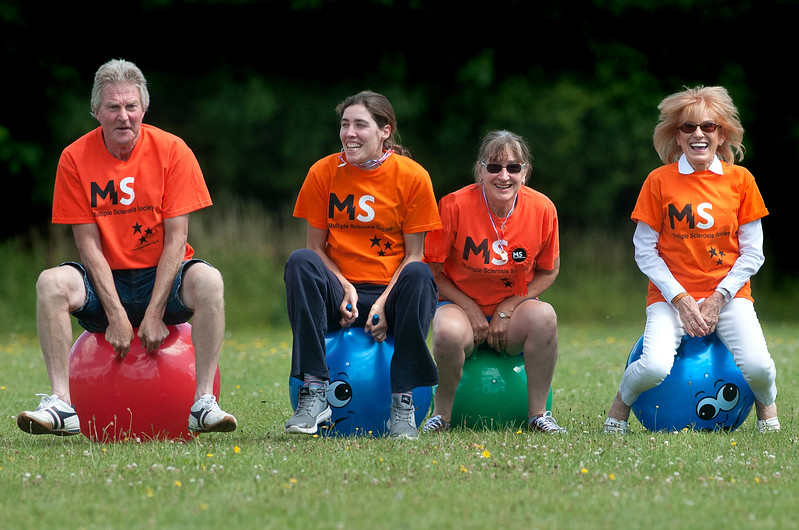 MS Society committee members (l to r) Mike Lay, Sarah Cook, Sheila Cook and Ingrid Allso warm up for the spacehopper race at the society's sports day held at Winton School. - 6th Aug, 2016 - Pic Andy Brooks