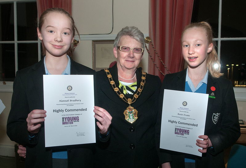 Test Valley Mayor Cllr Iris Anderson presents the Highly Commended award certificates in the intermediate category of Rotary Andover Young Writer Competition to Hannah Bradbury (left) and Rosie Evans. 16th March, 2016 - Picture Andy Brooks