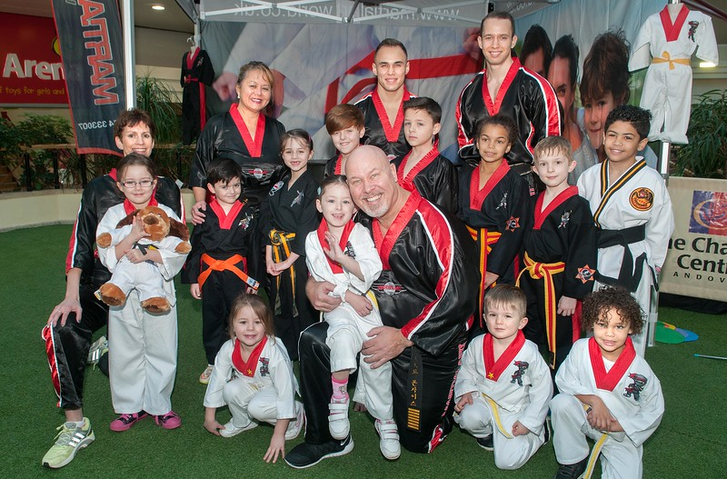 5 year old Faith Sharpe with Dave Bonthuys and the rest of the Martial Art World at their demonstration in the Chantry Centre. 6th Feb, 2016 - Picture Andy Brooks
