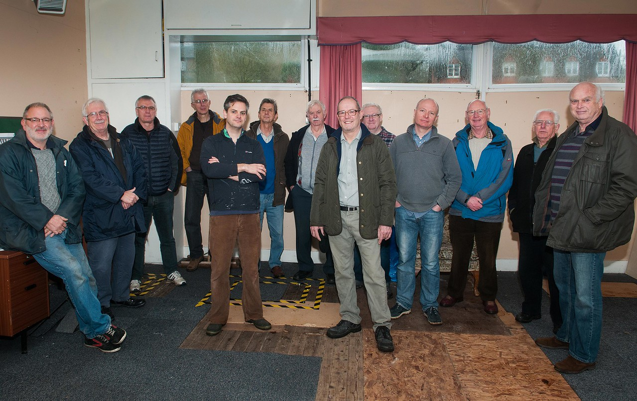Trustee's of the Men's Club in Laverstoke and Freefolk Bob Hough (left) and Steve Saunders pictured with new members at the Tennis Pavilion in Laverstoke Lane. 10th January, 2016 - Picture Andy Brooks