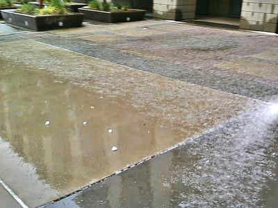 Hail on ground.