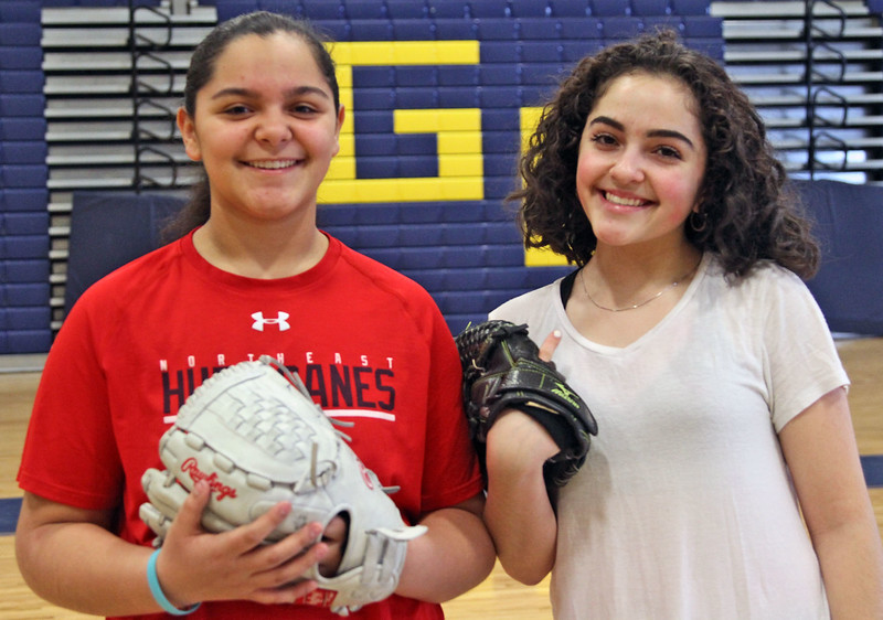 Two of the GLT softball up and coming freshman, L-R, Audriana DeJesus and Hailee Cruz. SUN/David H. Brow