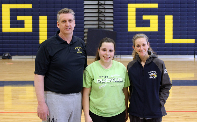 GLT softball coaches and Capt., L-R, Coach Bob Jones, Capt Stephanie Seymour, and Assit., Coach Nicole Tellier. SUN/David H. Brow