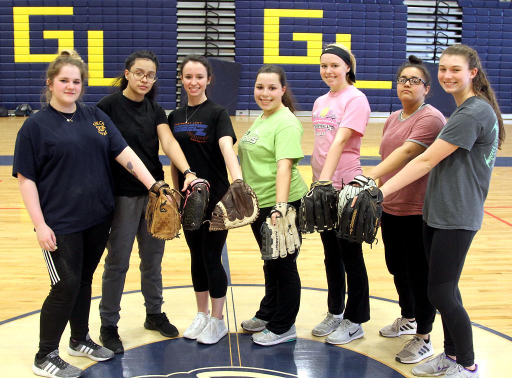 . GLT softball returning veterans L-R, Haylee Mathews, Ashley Pinto, Nicole Lawler, Capt Stephanie Seymour, Jessica Lawler, Brianna Figueroa and Jessica MacFadgen. SUN/David H. Brow