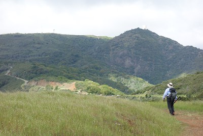 Here's Chris heading down from Bald Mountain - Mt Umunhum in the background