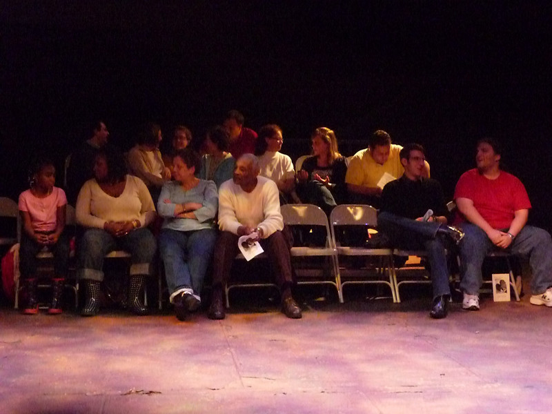 The Belsoles gather before the play on Saturday night.