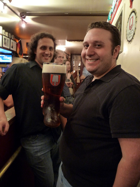 Andy and brother Mike enjoy the first beer of the evening - 2.5 litres!