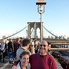 starting the walk across the Brooklyn Bridge