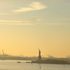 sunsetting over the Statue of Liberty (10 x zoom)
