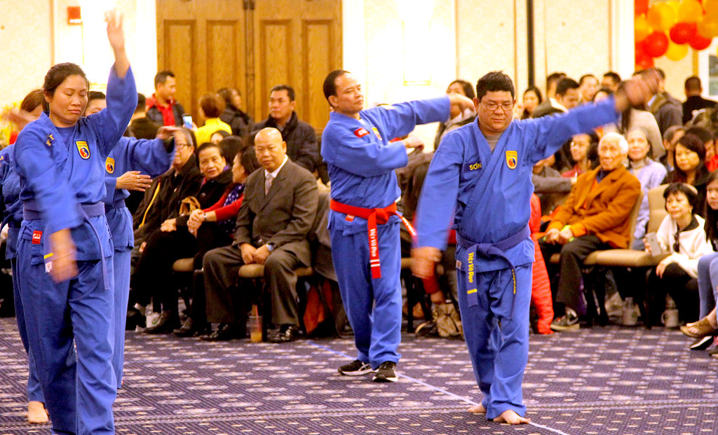. Putting on a demo are members of Vovinam, Vietnamese Martial Arts-Le Lai Dojo of Worcester, at the Vietnamese Lunar New Year Celebration held at UMass Lowell Inn & Conference Center. SUN/David H.Brow