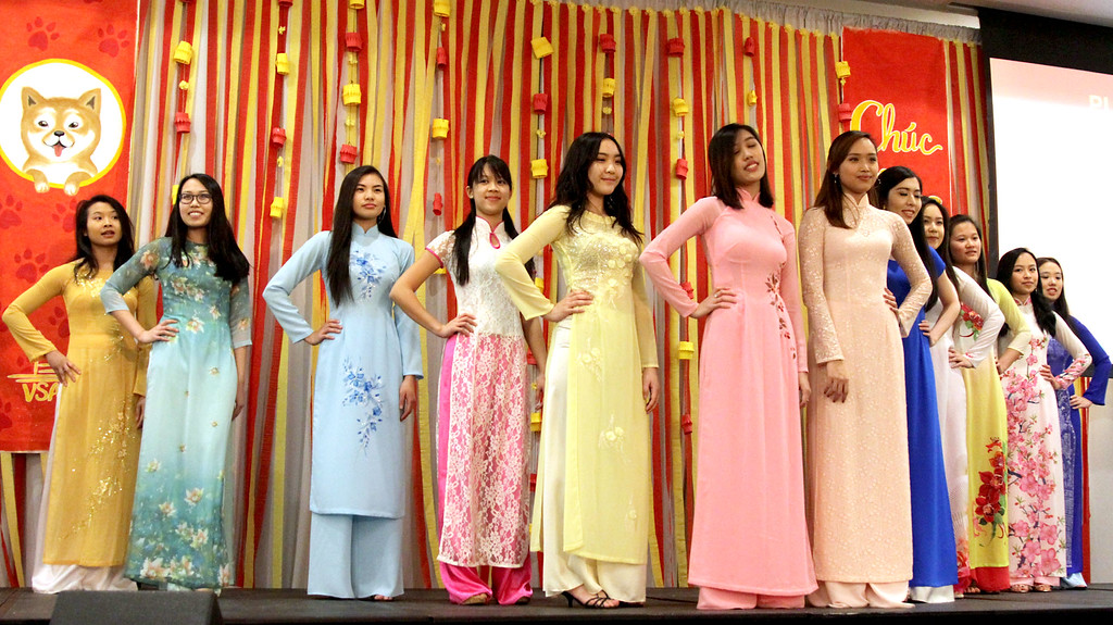 . Young women line up in their outfits for the VSA Fashion Show, part of the Vietnamese Lunar New Year. SUN/David H.Brow