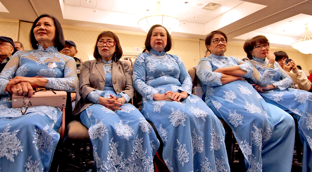. Group of ladies watching the live preformances at the Vietnamese Lunar New Year celebration. SUN/David H.Brow