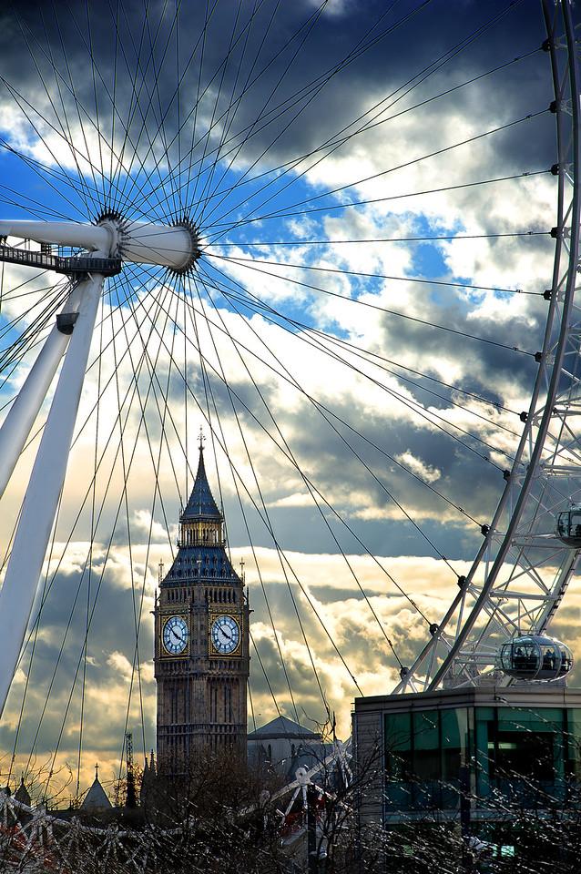 London Eye and Big Ben, London U.K.
