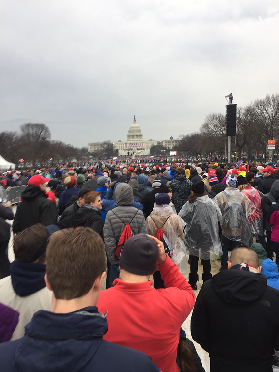 . Huge crowds for Donald Trump\'s inauguration, two hours before swearing-in ceremony. Photo by Dennis Kearns / Special to Digital First Media.