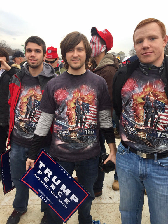 . Three friends from Missouri have unique T-shirts for the Trump inauguration. Photo by Dennis Kearns / Special to Digital First Media.