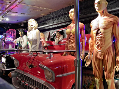 Anatomy models and Marilyn Monroe, along with furniture styled like fifties American cars... it could only be Andy Thornton's.