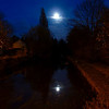 Moon over canal at Riddlesden