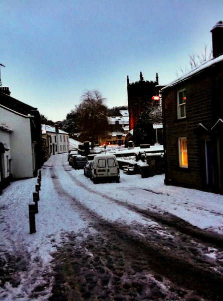 Bingley Old Main Street in the snow Jan 2010. iPhone shot.