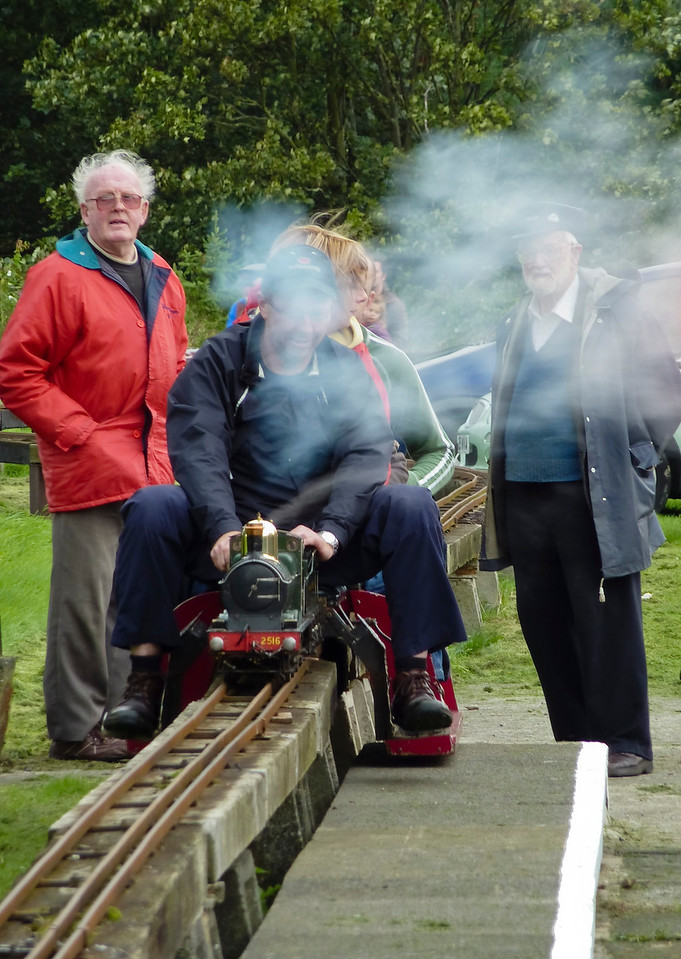 Miniature steam train at the Marley showground's permanent track