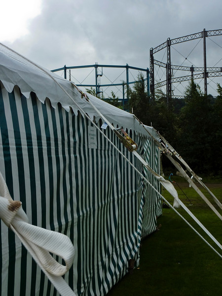 An attraction of Keighley Showground is the picturesque gasometers that loom over it...