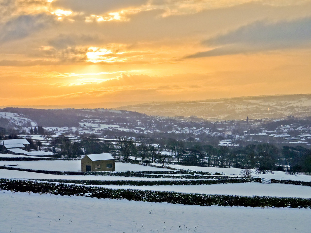 View towards Bingley from above Riddlesden. Morning.
