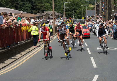 The first seven riders arrive at Haworth