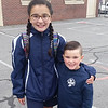 Ava and Luke's frist day back to Saint Michael's School. .